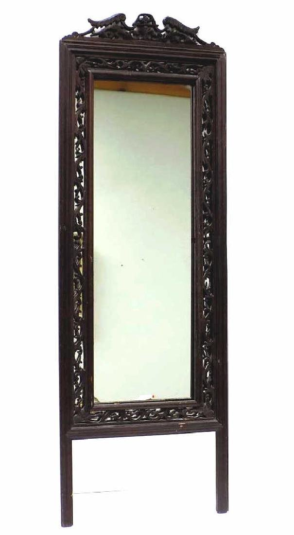 CHINESE ORNATE RETICULATED ROSEWOOD MIRROR