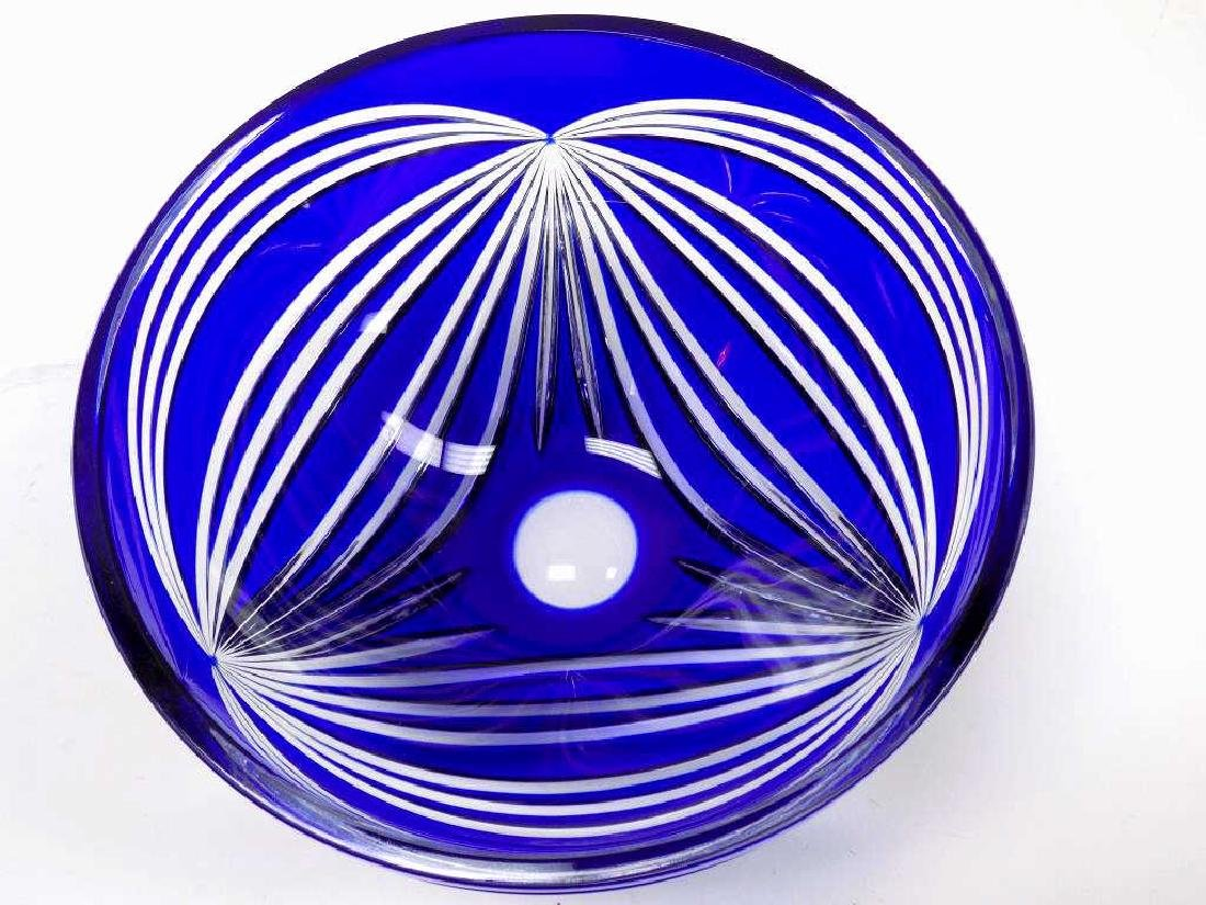BIG ART DECO COBALT CUT TO CLEAR CRYSTAL BOWL