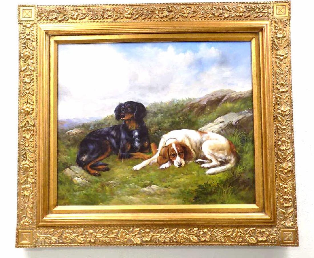 SPORTING HOUNDS ON A HILL PAINTING