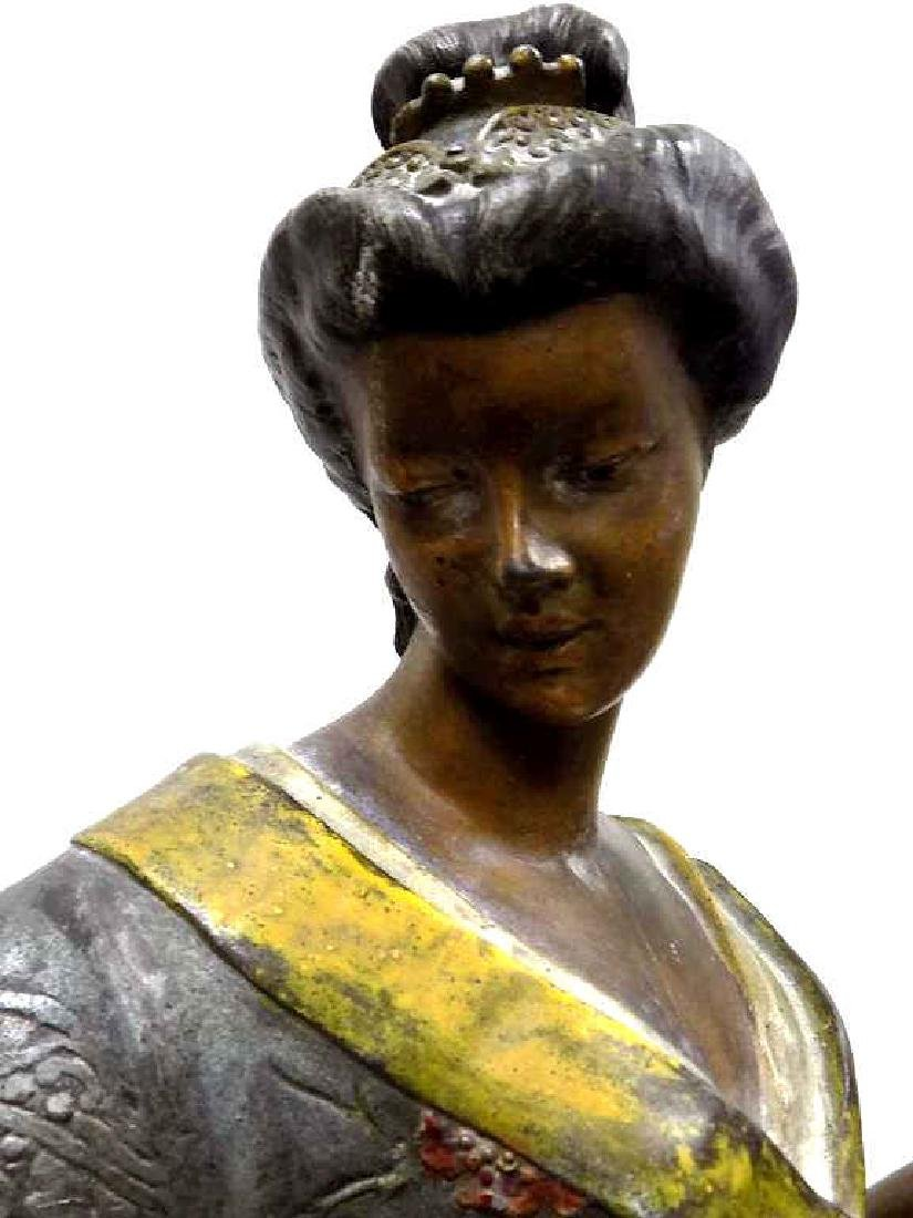 C.H. MASSE 19TH C. ORIENTAL GIRL BRONZED STATUE - 3
