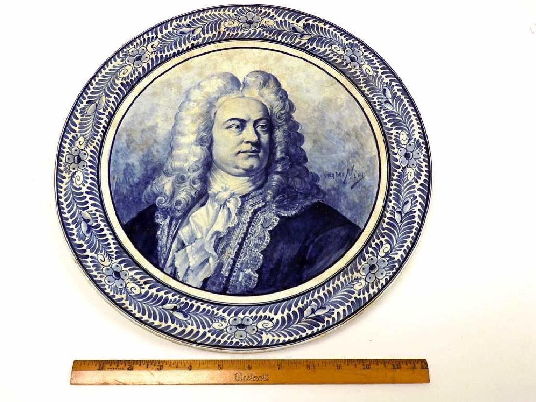 EARLY GERMAN STATESMAN DELFT CHARGER