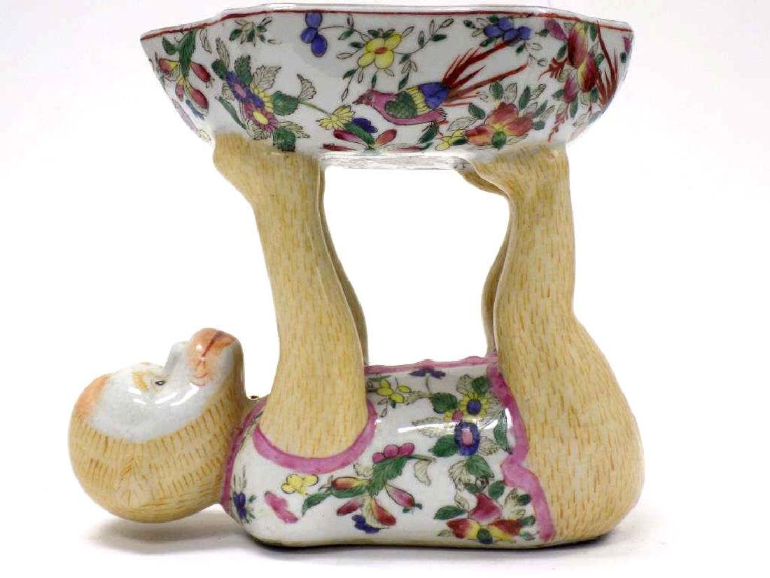 CHINESE FAMILLE ROSE FIGURAL MONKEY BOWL