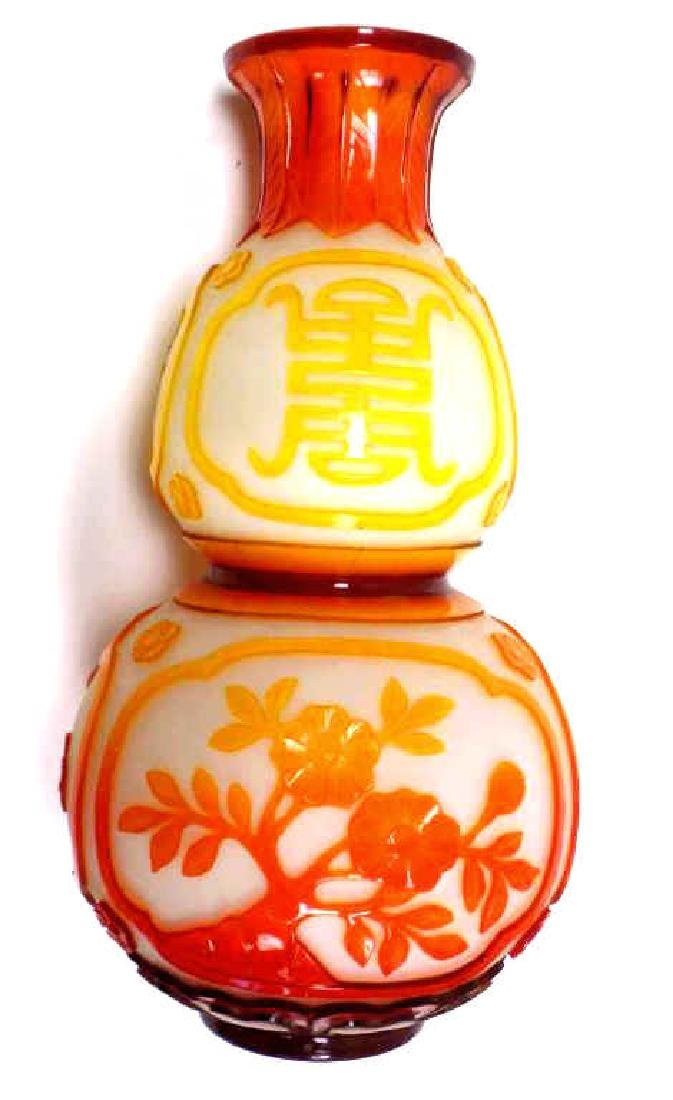 CHINESE GOURD FORM CAMEO GLASS VASE