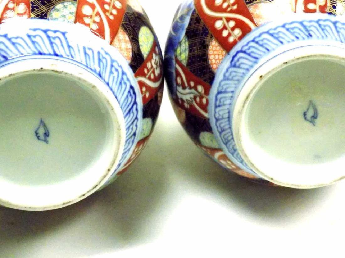 JAPANESE IMARI PAIR BOTTLE VASES - 5