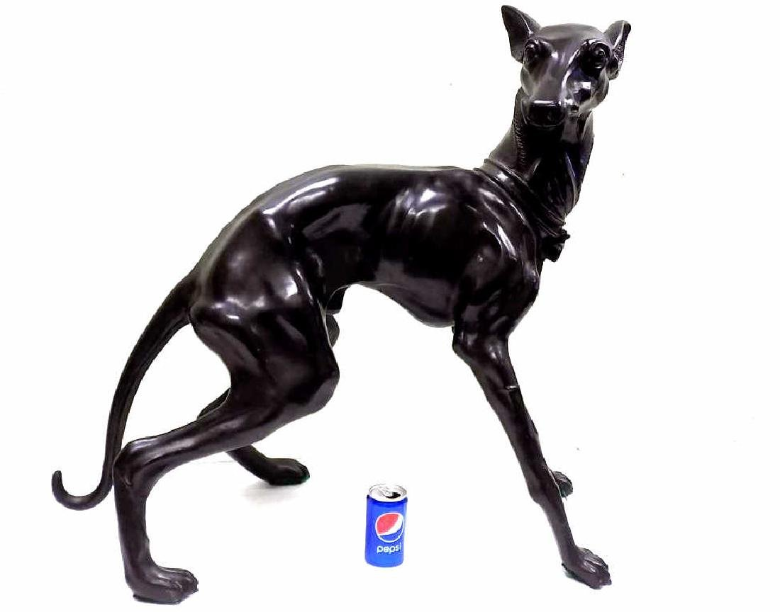 MONUMENTAL BRONZE WHIPPET DOG SCULPTURE
