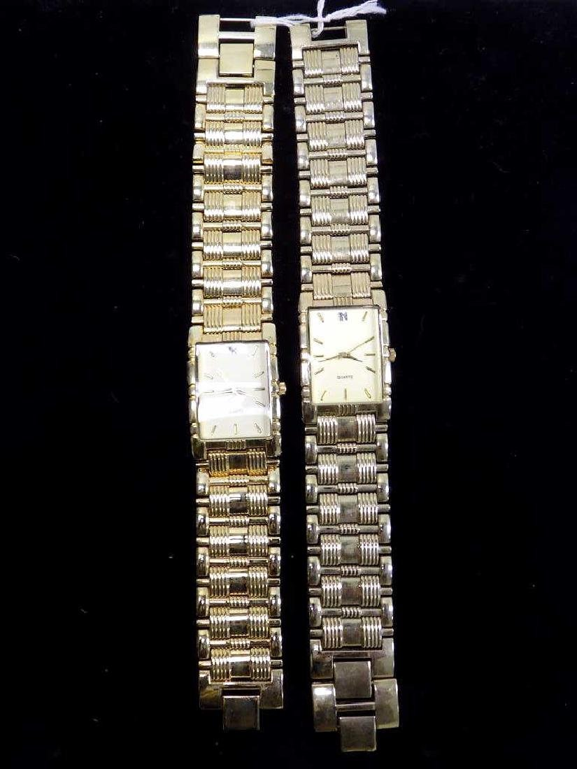 PAIR ART DECO GOLD TONE MEN'S QUARTZ WRISTWATCH