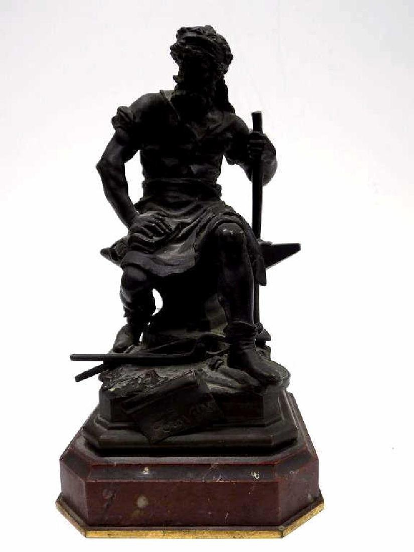 AUGUSTE LEBOURG - LE TRAVAIL BRONZE BLACKSMITH