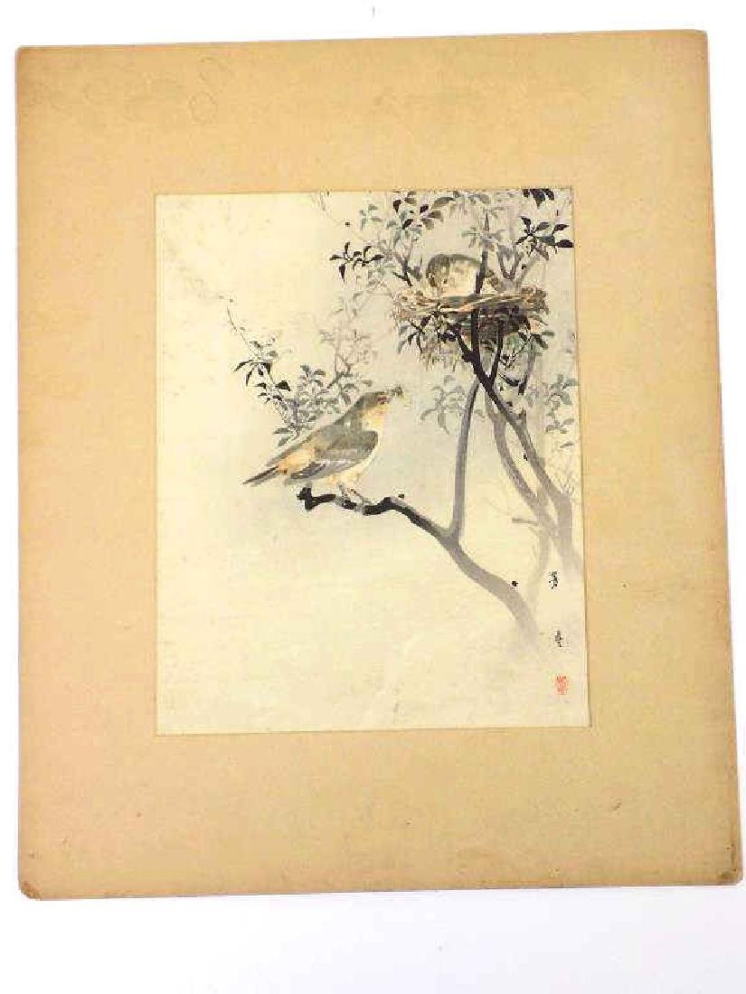 HOTEI - JAPANESE BIRDS NEST MIXED MEDIA WATERCOLOR