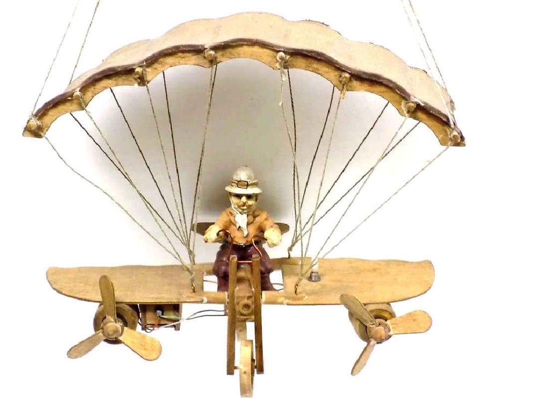 FOLK ART AIRPLANE FLYER WOODEN TOY