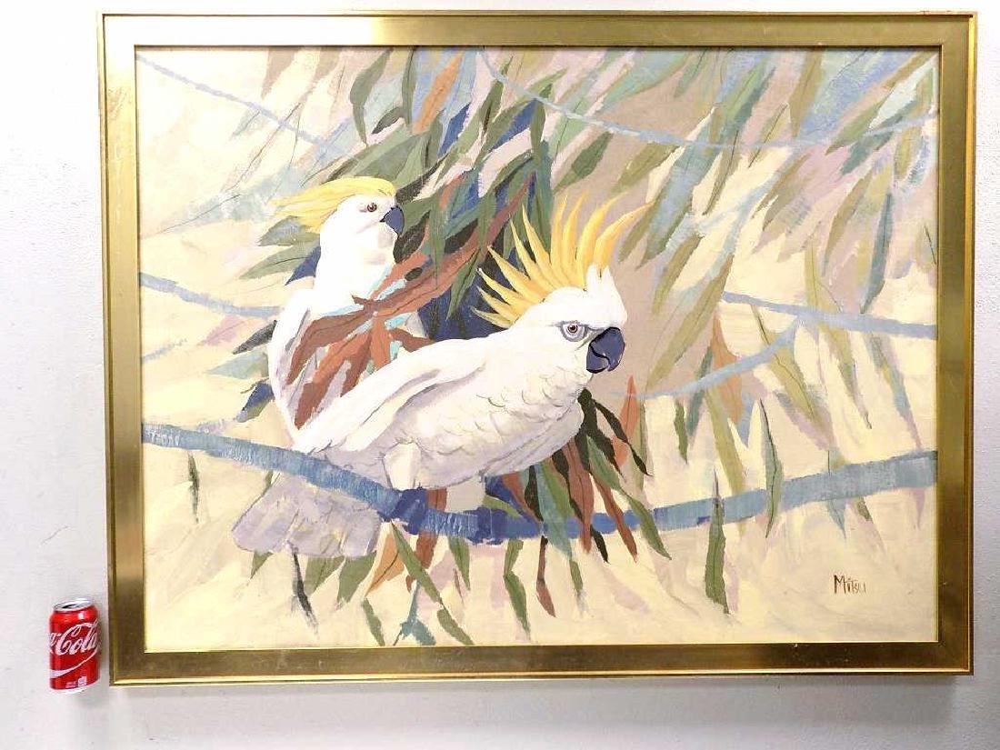 MITSU - PAIR OF COCKATOO BIRDS PAINTING