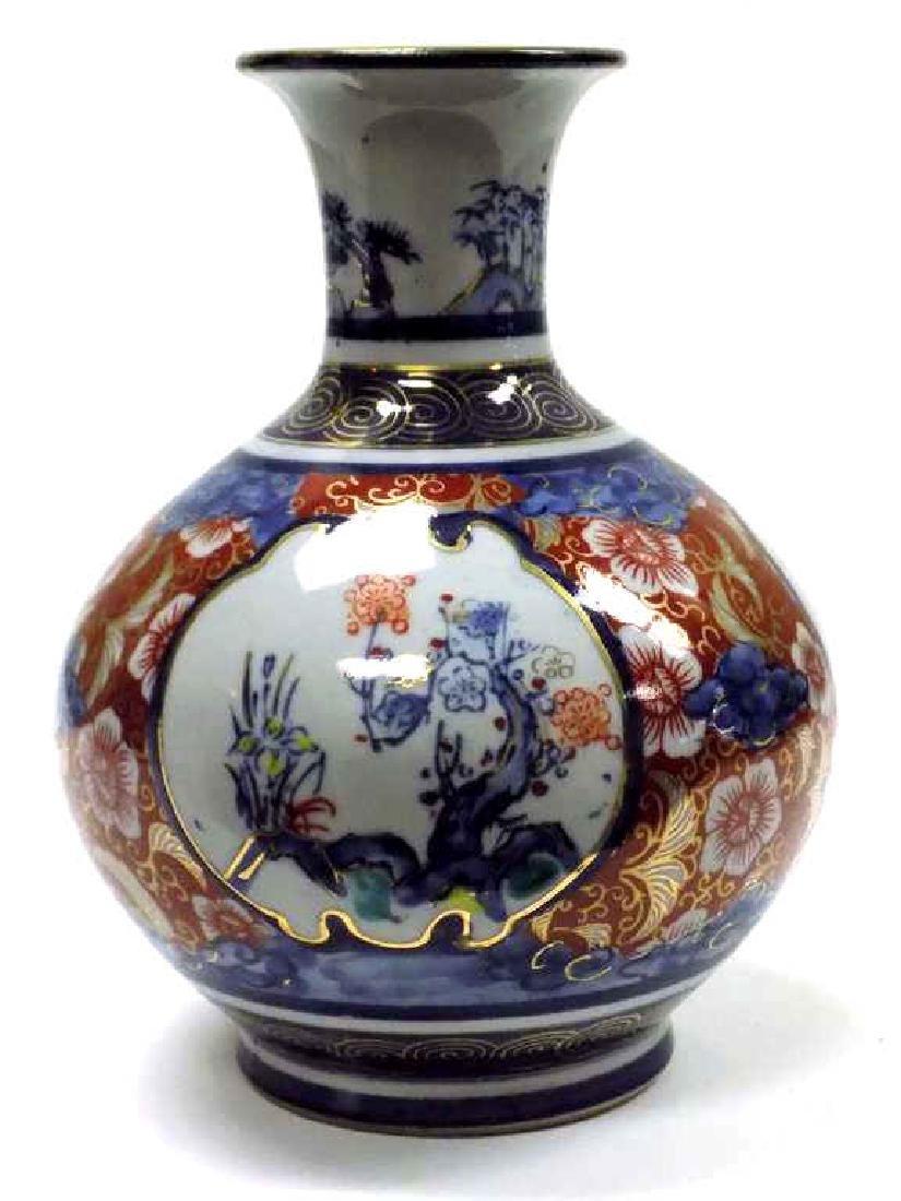 JAPANESE IMPERIAL IMARI PARCEL GILT BALUSTER VASE