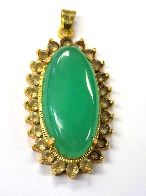 CHINESE GOLD VERMEIL JADE NECKLACE PENDANT