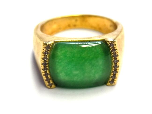 CHINESE GOLD VERMEIL JADEITE MEN'S RING