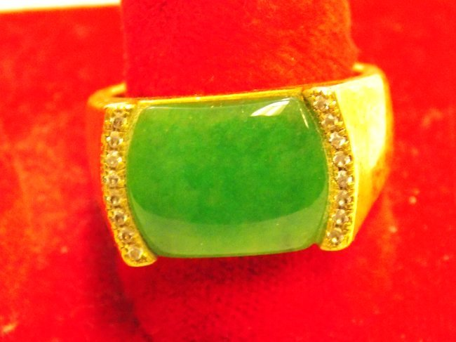 CHINESE GOLD VERMEIL JADEITE MEN'S RING - 2