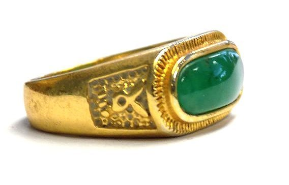 CHINESE GOLD VERMEIL JADEITE RING