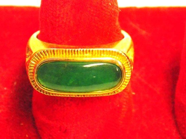 CHINESE GOLD VERMEIL JADEITE RING - 3