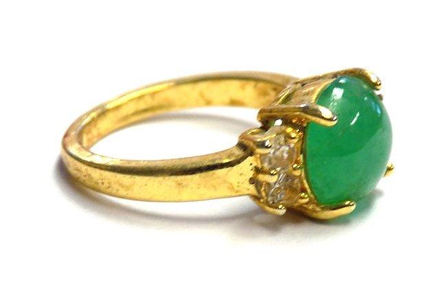 CHINESE GOLD VERMEIL GREEN JADEITE LADIES RING