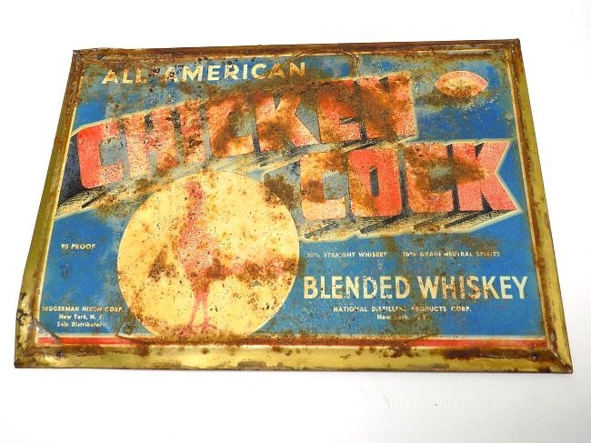 ALL AMERICAN CHICKEN COCK WHISKEY ADVERTISING SIGN