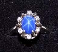 EXTRAORDINARY STAR SAPPHIRE  DIAMOND GOLD RING