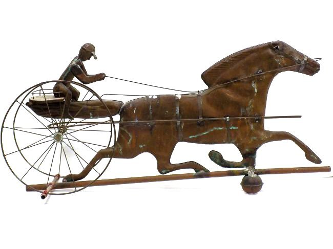 FOLK ART TROTTING HORSE & SULKY COPPER WEATHERVANE