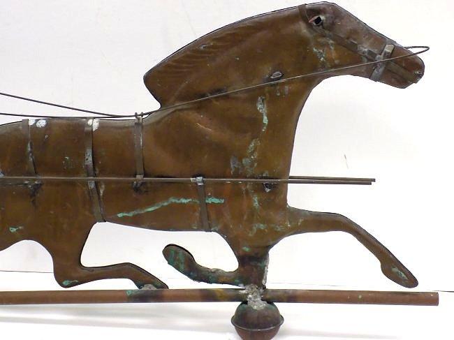 FOLK ART TROTTING HORSE & SULKY COPPER WEATHERVANE - 3