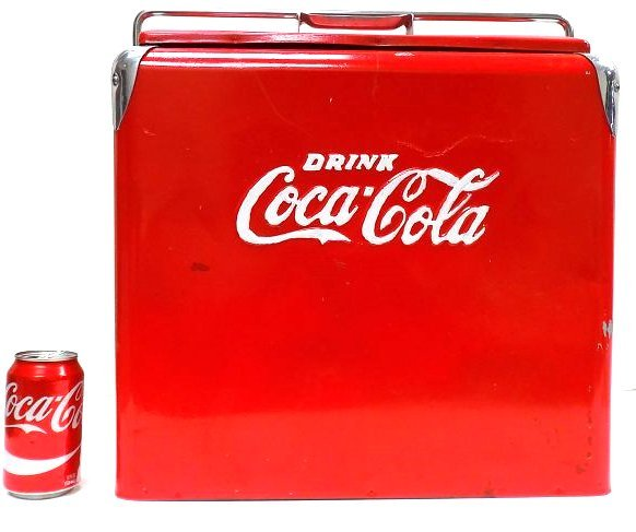 COCA COLA EMBOSSED LOGO CHROME COOLER