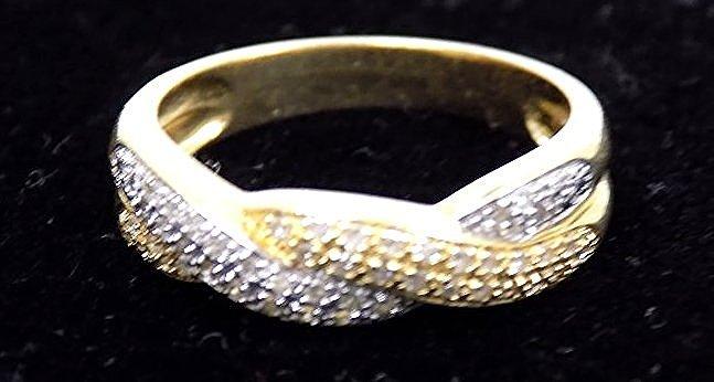 14K TRI GOLD AND DIAMOND BRAID RING