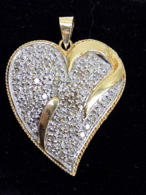 14K GOLD & DIAMOND HEART PENDANT