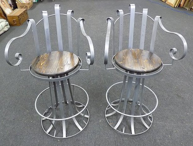 PAIR INDUSTRIAL IRON SWIVEL CHAIRS