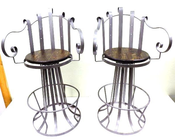 PAIR INDUSTRIAL IRON SWIVEL CHAIRS - 2
