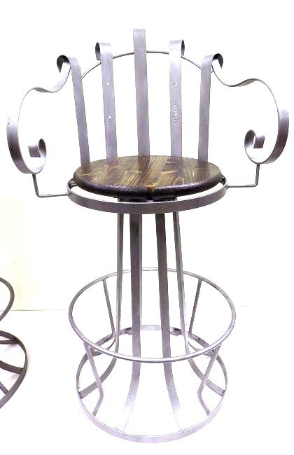 PAIR INDUSTRIAL IRON SWIVEL CHAIRS - 3