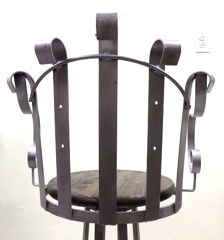 PAIR INDUSTRIAL IRON SWIVEL CHAIRS - 4