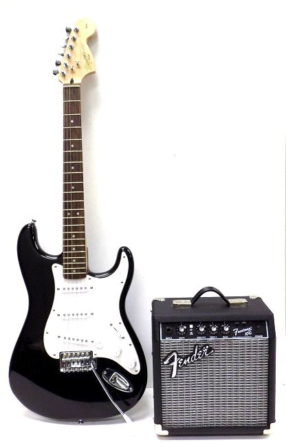 FENDER SQUIER STRATOCASTER GUITAR W/ AMPLIFIER