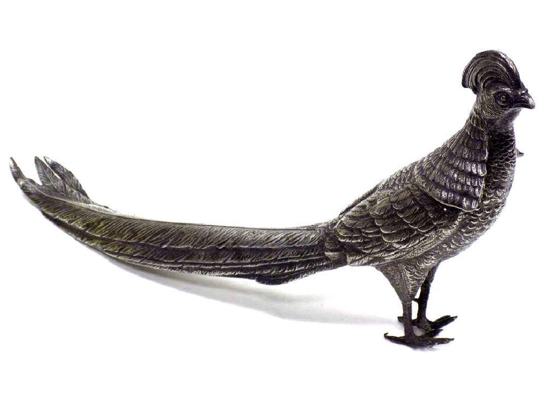 ANTIQUE SILVERPLATE PHEASANT SCULPTURE