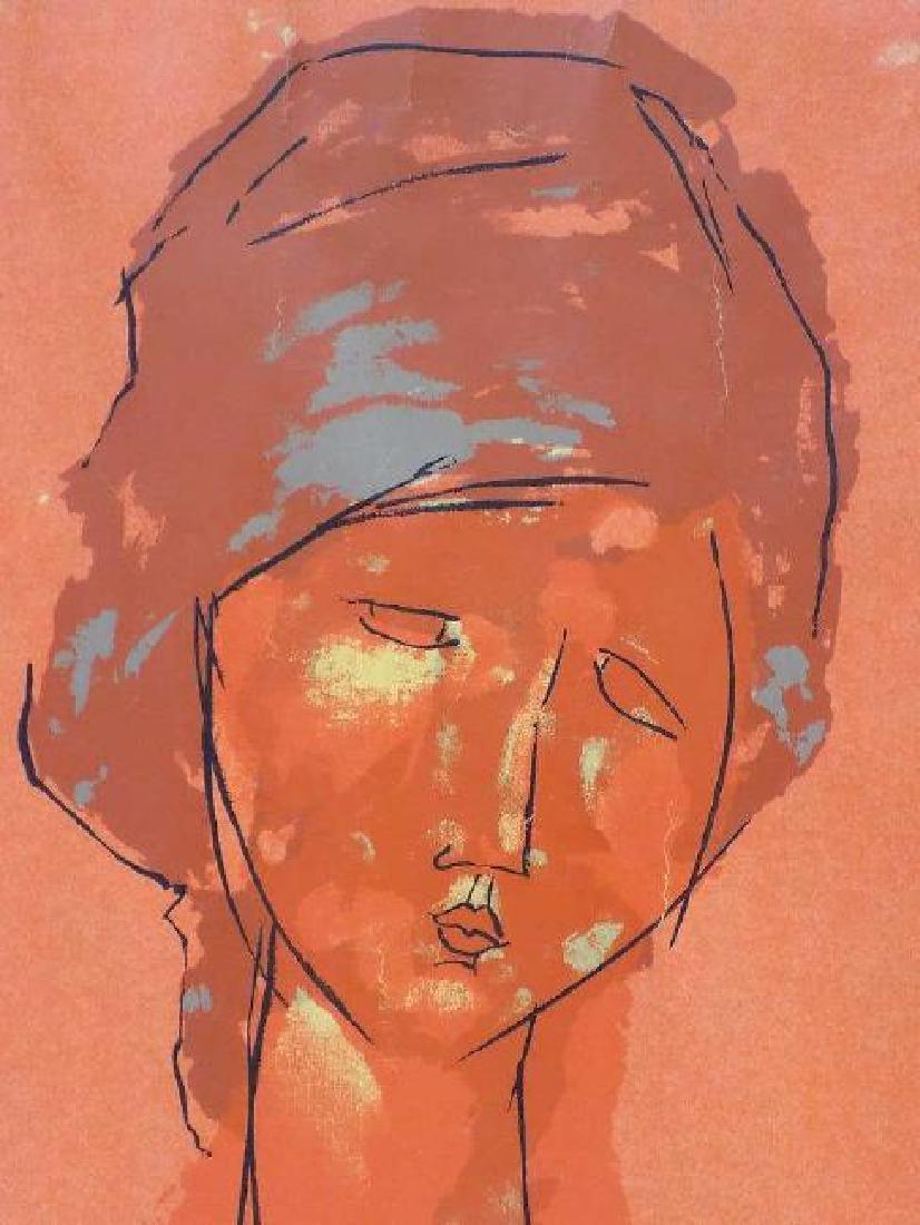 MODIGLIANI - HEAD OF A WOMAN 1910 SCREEN PRINT - 2