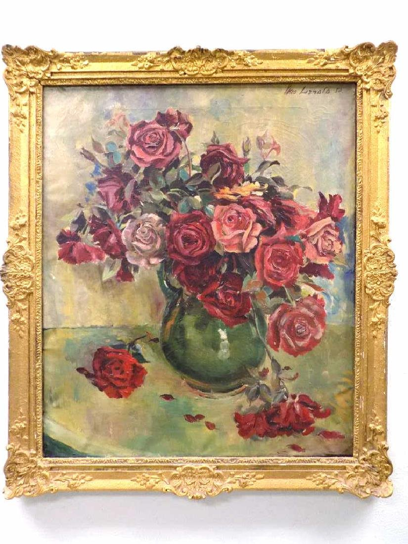 V. LAZZOLO - VASED ROSES PAINTING