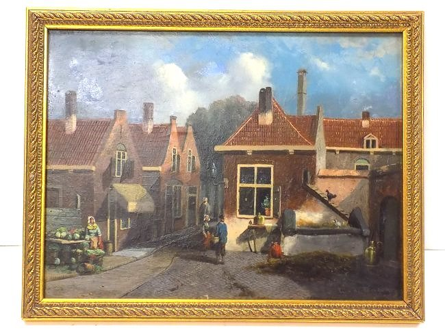 G.V.D. WOOD ? EARLY DUTCH COUNTRY VILLAGE PAINTING