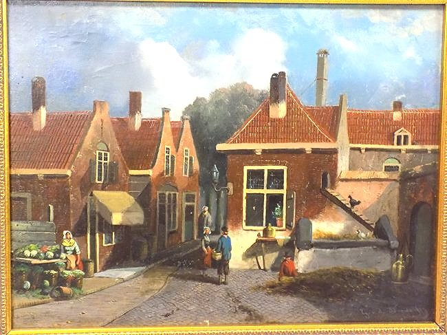G.V.D. WOOD ? EARLY DUTCH COUNTRY VILLAGE PAINTING - 2