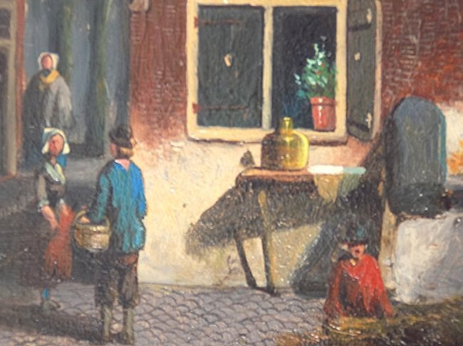 G.V.D. WOOD ? EARLY DUTCH COUNTRY VILLAGE PAINTING - 3