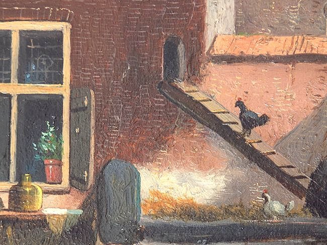 G.V.D. WOOD ? EARLY DUTCH COUNTRY VILLAGE PAINTING - 4