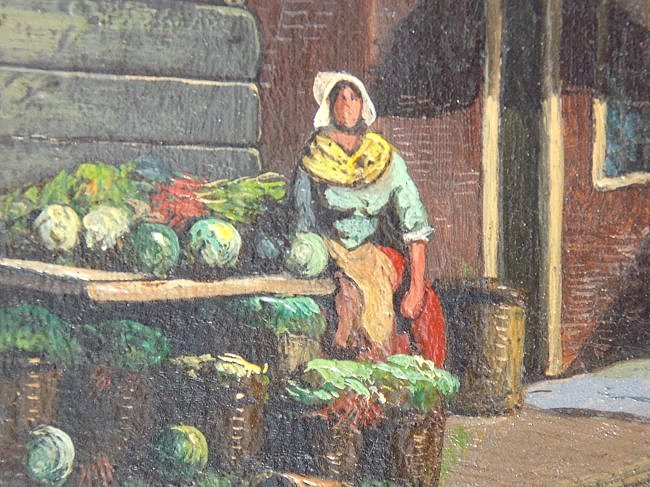 G.V.D. WOOD ? EARLY DUTCH COUNTRY VILLAGE PAINTING - 5
