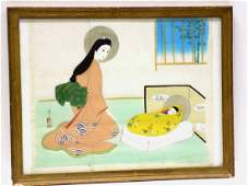 SIGNED CHINESE MOTHER & CHILD SILK WATERCOLOR