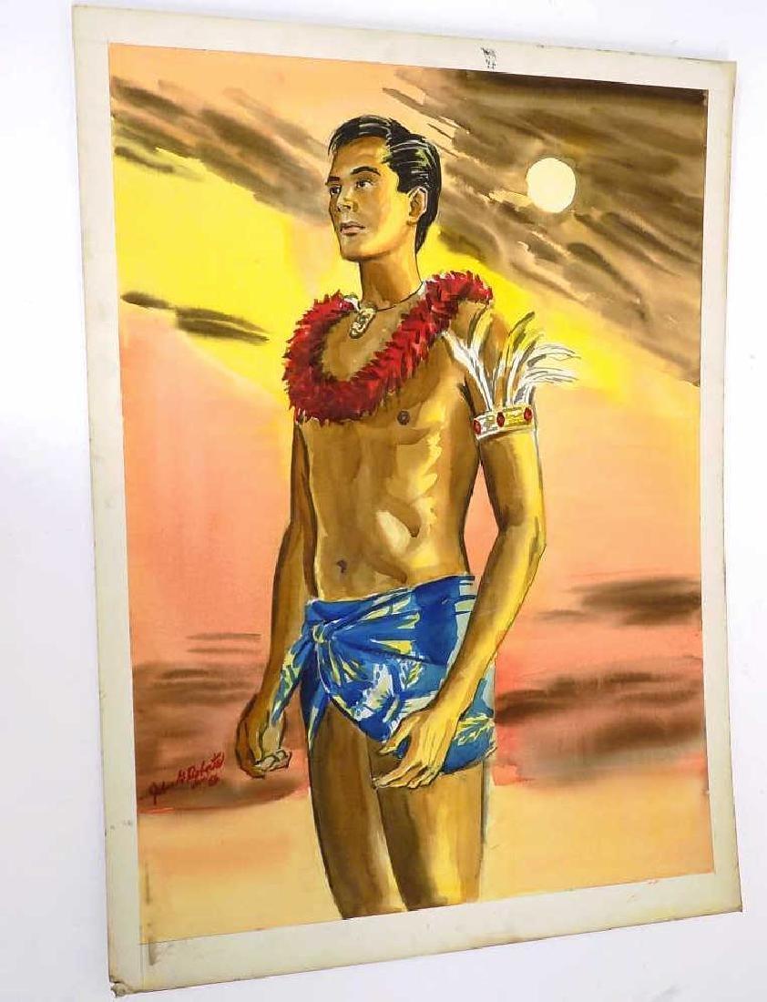 JOHN G. ROBERTS HAWAIIAN MAN AT SUNSET WATERCOLOR
