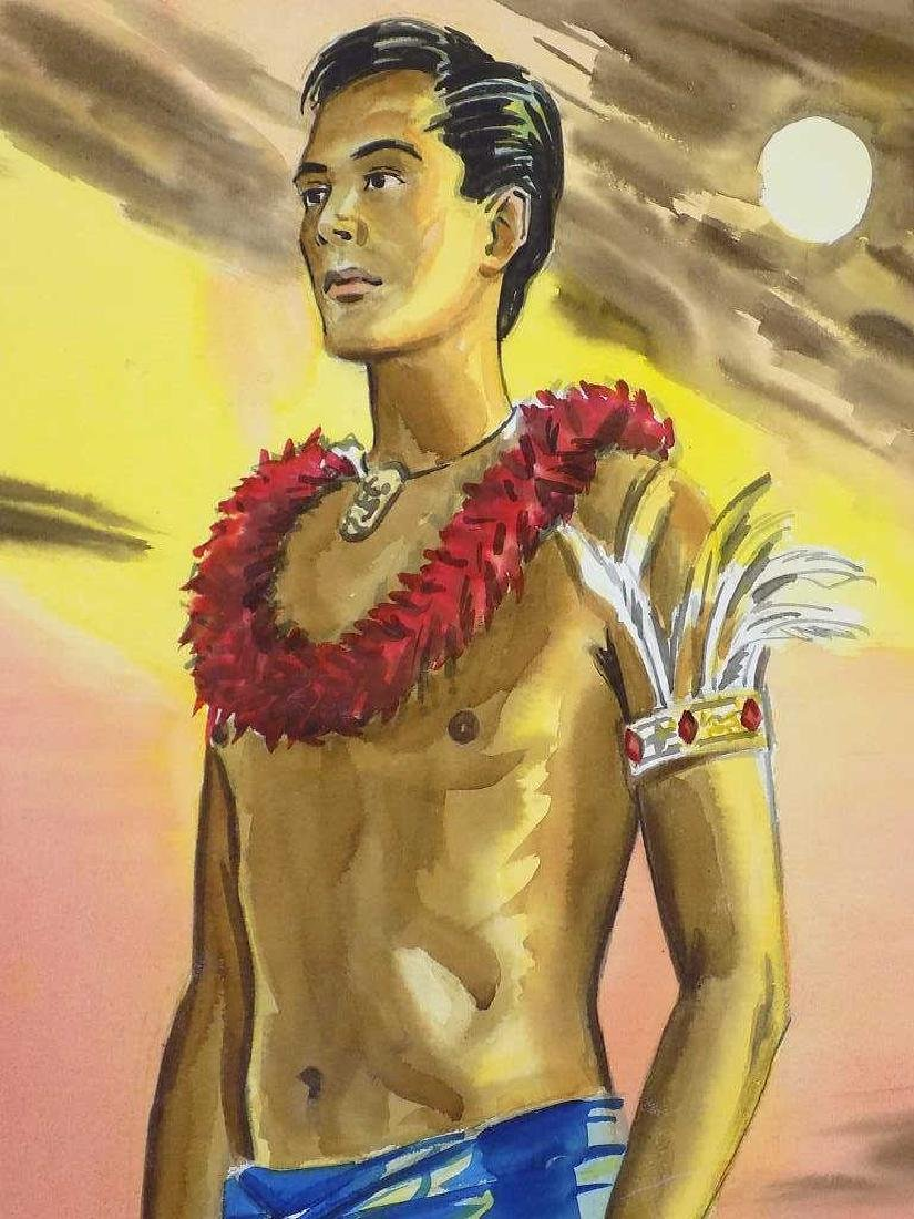 JOHN G. ROBERTS HAWAIIAN MAN AT SUNSET WATERCOLOR - 2