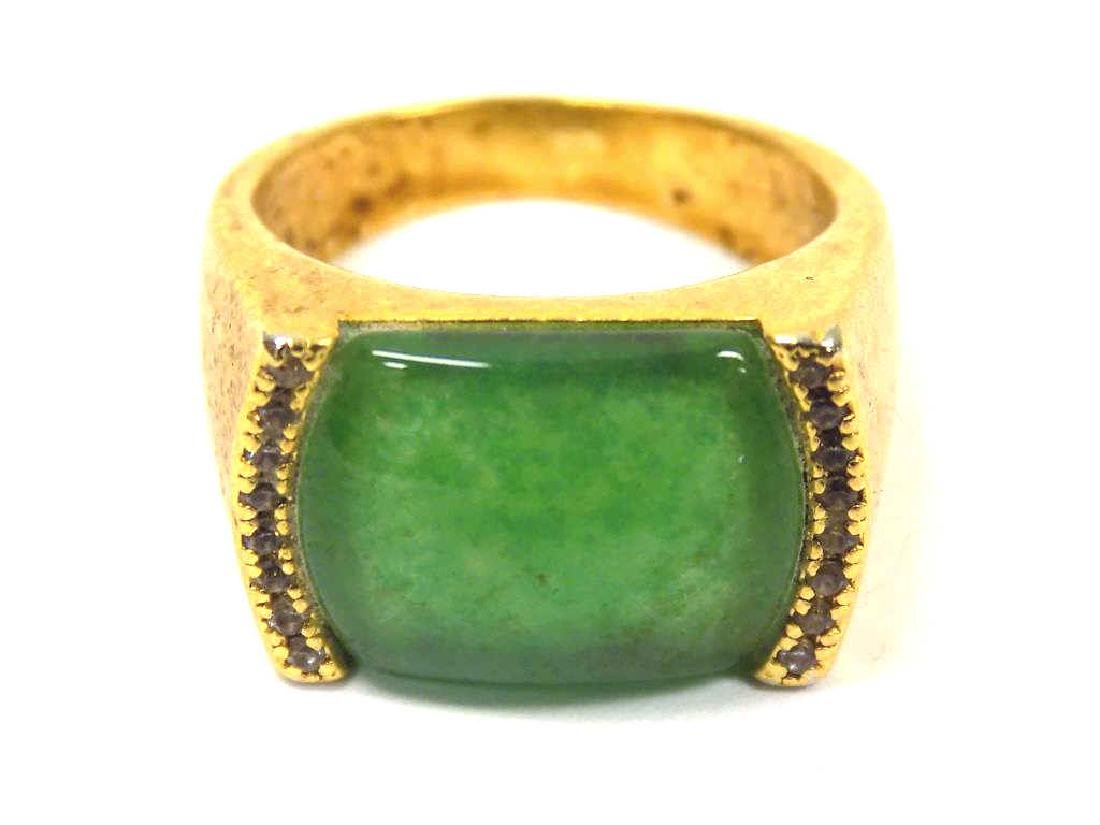 CHINESE GOLD VERMEIL JADEITE GREEN RING