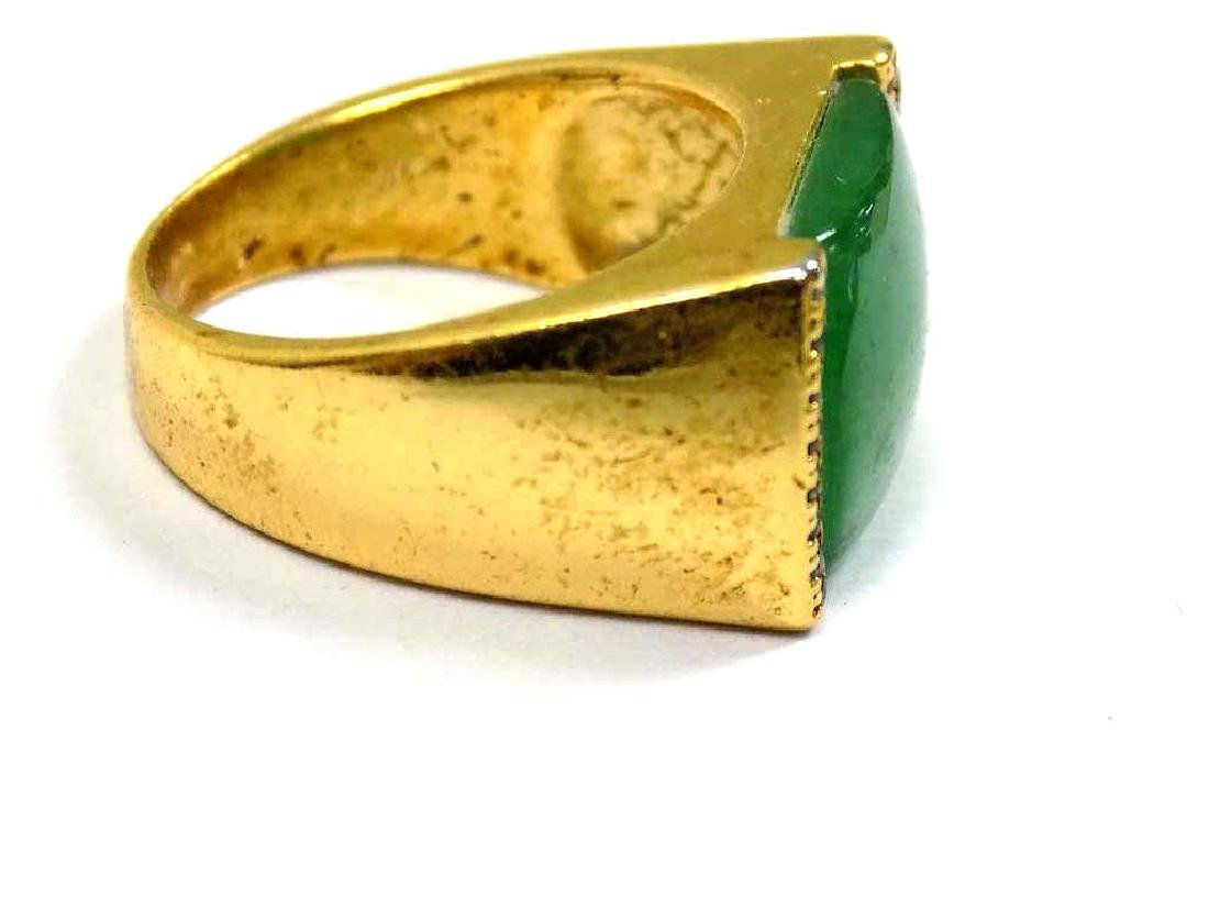CHINESE GOLD VERMEIL JADEITE GREEN RING - 2