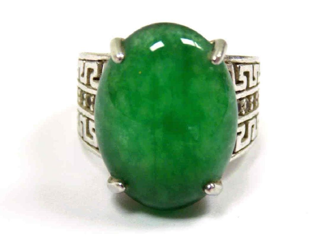 CHINESE SILVER JADEITE GREEN OVAL ENGRAVED RING