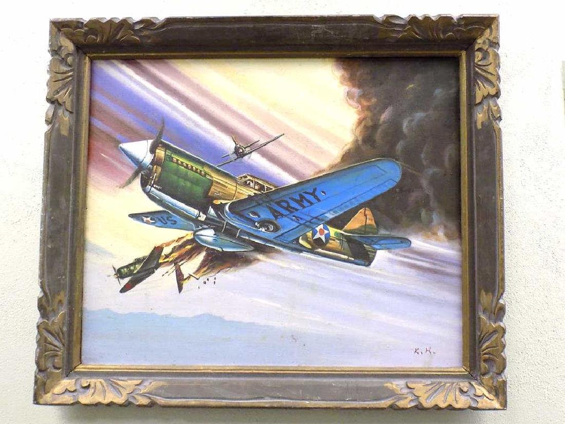 K.H. - WWII UNITED STATES ARMY WAR PLANE PAINTING
