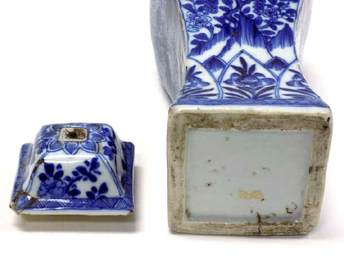 CHINESE EXPORT BLUE & WHITE SCENIC JAR - 3