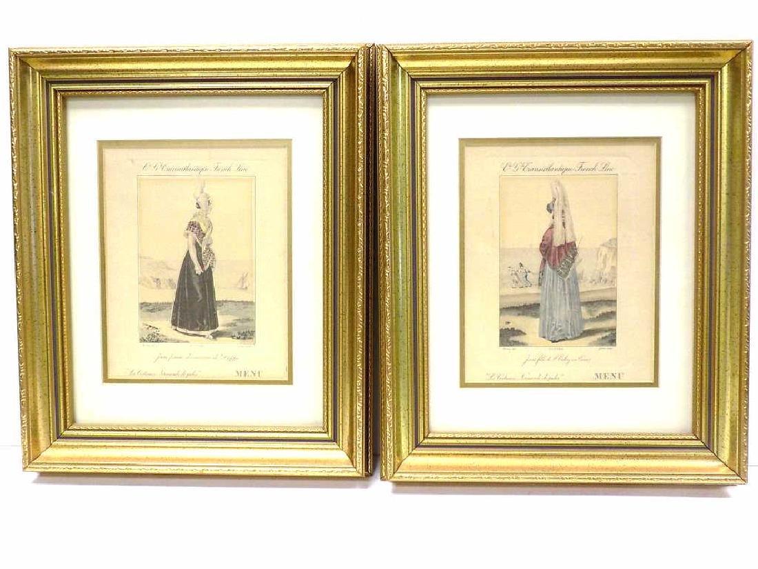 19TH CENTURY PAIR FRENCH SHIP MENU FASHION PRINTS
